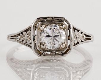 Antique Engagement Ring - Antique 14k White Gold Filigree Diamond Engagement Ring