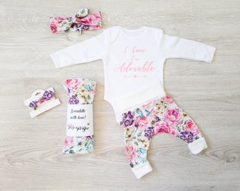 Newborn girl gift set, new baby gift set, newborn gift set girl, newborn baby girl gift set, newborn girl outfit set, floral outfit set