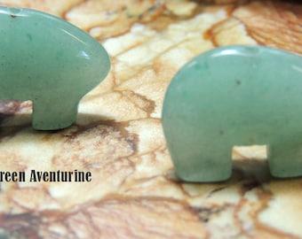 Earring Size Green Aventurine Zuni Bear Earring Pairs make your own Dreamcatcher or earrings Teen Size 12 x 18 mm