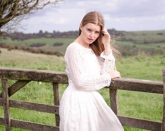 long sleeve cotton lace Top, wedding top, casual wedding separates, bridal top
