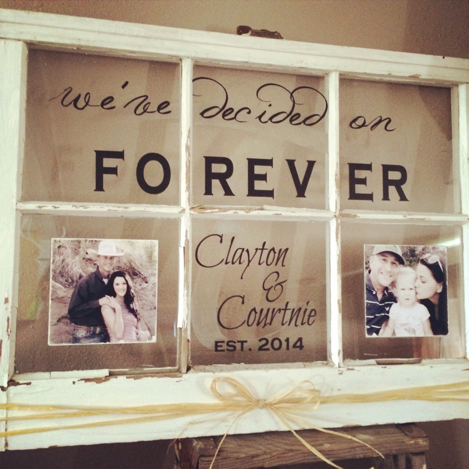 Old window wall hanging custom family name established for Fenetre decorative