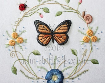 Butterfly Wreath Pattern for Stumpwork and Surface Embroidery