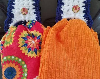 Crochet Toppers and Blue / Orange Kitchen Towels Set