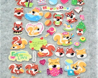Mixed Sweet Puffy Happy Squirel Stickers