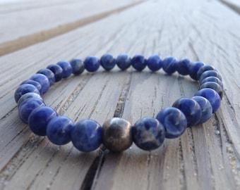Sodalite Bracelet - Blue Beaded Bracelet, Sodalite Jewelry, Calming Bracelet, Healing Stone Bracelet, Genuine Gemstone Bracelet