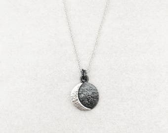 Lunar Eclipse Necklace. Sterling Silver. Nature Inspired. New Rustic. Eclipse Jewelry. Occult Jewelry. Celestial. Moon Jewelry.