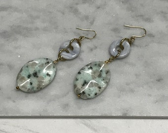 Green Sesame Jasper and Blue Lace Agate Earrings