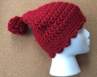 Cherry Red Winter Beanie with Pompom--child/tween