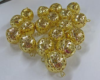 Filigree Beads - Vintage Gold Dangling Filigree Beads - 3 Packages of Vintage 18mm Beads