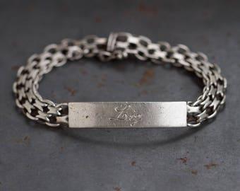 Liz ID Bracelet - Sterling Silver Name Bar Bracelet - Engraved