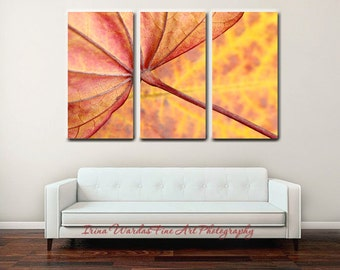 Modern 3 panel canvas 3 piece wall art, extra large wall decor, leaf art abstract photography canvas split, oversized artwork, yellow red