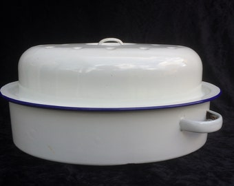 "White and Blue Enamel Dimpled Roasting Tin, Cooking Pot, Casserole, Vintage 1950's, Vintage Condition, 13"" x 9.5"" x 7"""