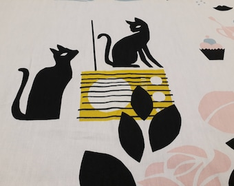 Curtain panel white yellow black pink Cats Radio Modern Decor Cafe curtain Kitchen valance , runner , napkins available, great GIFT