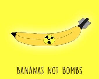 Bananas not Bombs / Digital Painting / Art Print