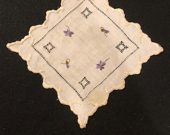 Linen Doily with Silk Embroidered Violets