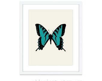 Butterfly Art Print - Modern Butterfly Wall Art - Teal Black and Beige - Nature Spring Decor