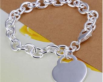 Personalized bracelet with Heart charm bracelet - Engraved silver bracelet
