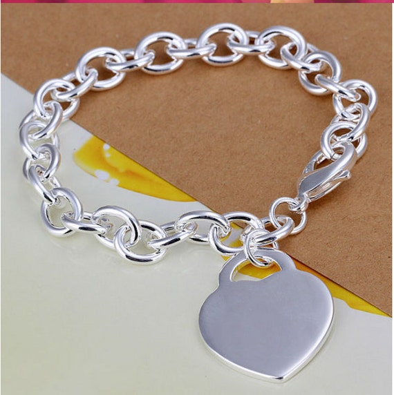 Engraved Charm Bracelet: Personalized Bracelet With Heart Charm Bracelet Engraved