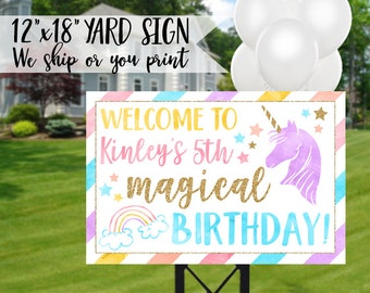 Unicorn Birthday Sign, Unicorn Yard Sign, Unicorn Sign, Rainbow Sign, Unicorn Welcome Sign, Magical Birthday Sign, Rainbow Birthday Sign