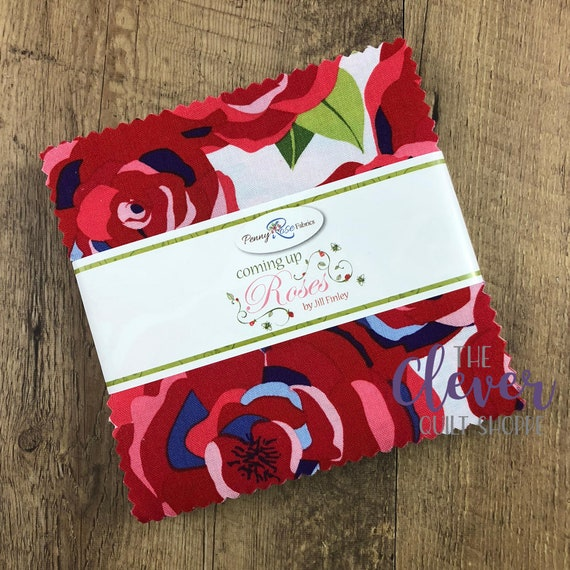 Charm Pack Squares, Coming Up Roses, Penny Rose Fabrics, Jill Finley, Roses, Paisley, Bees, Blue, Green, Red, Periwinkle,