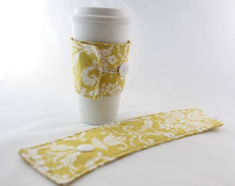 Floral Coffee Mug Cozy, Mustard with White Floral Pattern, Travel Mug, Coffee Cups, Tea Cozy
