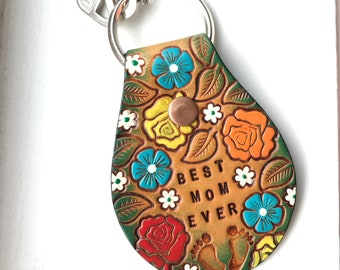 Mother's Day Gift, Mom Gift, Women's Leather Keychain, BEST MOM EVER, Mom, Gift for Mom, floral pattern, Mom Keychain