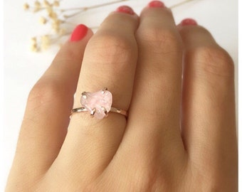 Rose Quartz Engagement Ring, Promise Rings, Rose Quartz Ring, Rose Quartz Jewelry, Quartz Engagement Ring, Quartz Ring