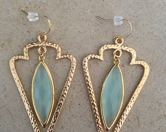 Gold blue triangle Earring