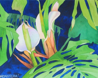 NEW! Art Original Watercolor Painting of a MONSTERA FLOWER
