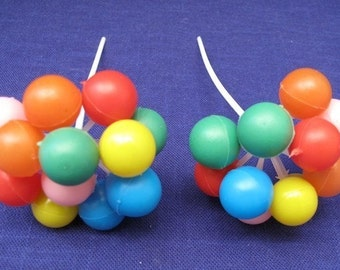 2 Vintage Cake Cupcake Toppers Bunch of Balloons Birthday or Special Occasion