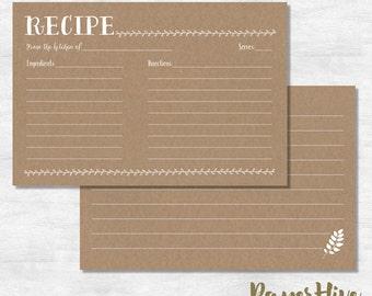 rustic recipe card  / bridal shower recipe card / kraft recipe card / recipe card instant download