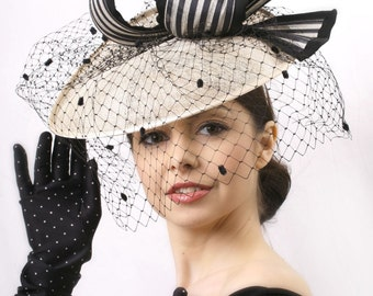 Kentucky derby headpiece, Elegant Veiled hat, Ivory and black headpiece, Royal Ascot fascinator, Kentucky derby hat, Audrey Hepburn hat