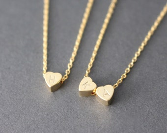 Tiny Gold Initial Heart necklace // Gold Initial Heart Necklace // personalized necklace