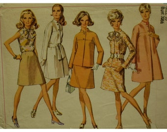 60s Lined Coat Pattern, Stand-up Collar, Raglan Sleeves, Straight, Blouse, Jacket, A-line Skirt, Simplicity No. 8093 Size 10 OR Size 16