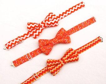 Boys Orange Fiesta Bow Tie, Boys Bow Tie in an Orange Tonal and Chevron, Toddler Bowtie, Ring Bearer Bow Tie, Photo Shoot
