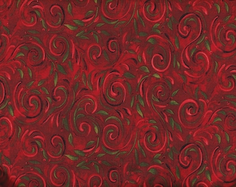 BTY Springs Legacy Studio Red SWIRL VINE Print 100% Cotton Quilt Crafting  Fabric by the