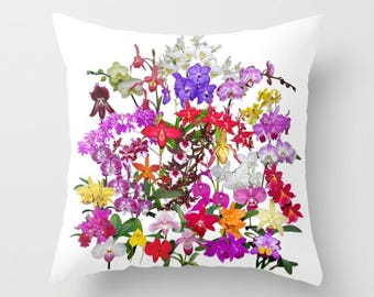 A celebration of orchids throw pillow, pillow cover, decorative throw pillow, nature inspired living room decor, Christmas gift for her