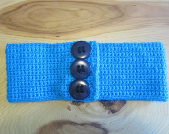Blue with Chunky Buttons Crochet Headband, Ear Warmer, Winter Wear, Women & Teens! Only One Available!