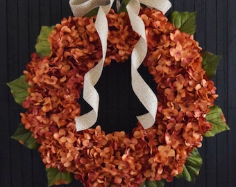 Orange Hydrangea Summer and Fall Front Door Wreath