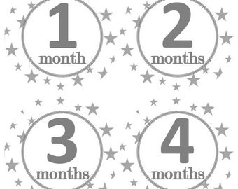 Baby Monthly Milestone Growth Stickers Grey Stars Nursery Theme MS906 Baby Shower Gift Baby Photo Prop