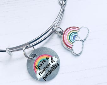 Rainbow Charm Bracelet, Rainbow Jewellery, Rainbow Of Possibilities, Gift For Inspiring Teen, Rainbow Lover Gift Ideas, WORLDWIDE SHIPPING.