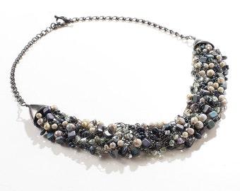 Green Opaque Luster/Hematite/Purple Wire Crochet Statement Necklace