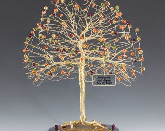Tree Cake Topper Fall Personalized Wedding Cake Topper Silver Gold Copper Tone Wire Swarovski Crystal Elements Siam Topaz Fireopal Olivine