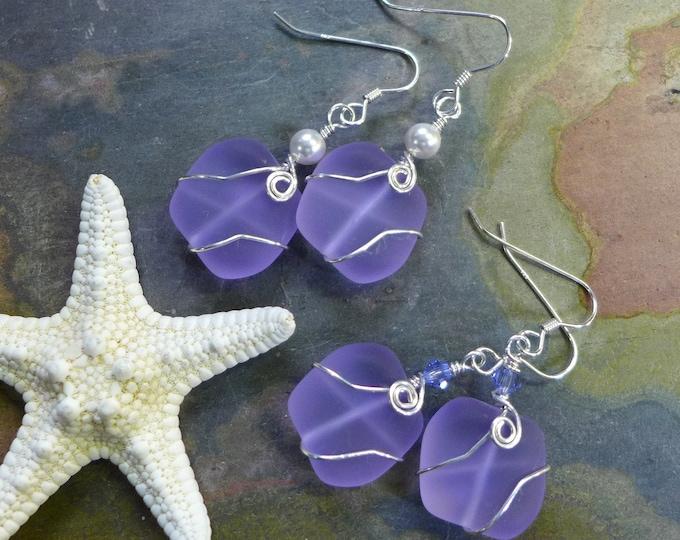 Periwinkle Sea Glass Earrings in Sterling Silver Earwires-Lavender Recycled Glass Earrings Glass Earrings, Beach Weddings,Sea Glass earrings