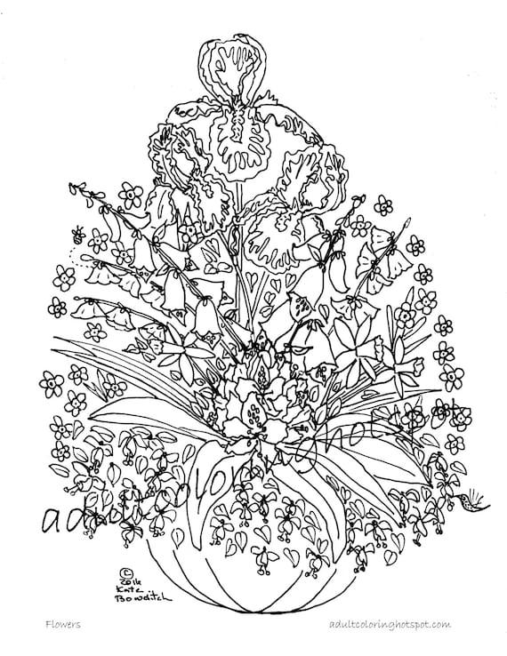 Adultos dibujos para colorear flores