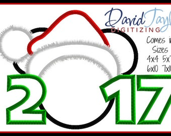 1 dollar on our website-Santa Mickey 2017/2018 Embroidery Design 4x4 5x7 6x10-Applique Instant Download-DTDigitizing Christmas Holiday MVMCP