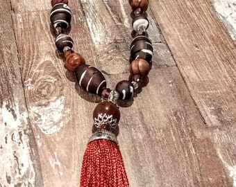 Brown Beaded Necklace with Removable Tassel