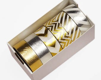 Washi Tape, METALLIC / Chevrons   Washi Tape. 6 roll box, 9/16 x 10 yards each roll,  60 yards