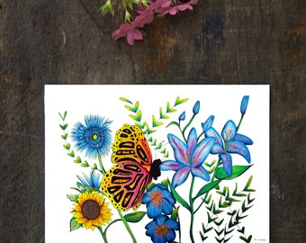 Butterfly Original Drawing, 9 x 12 Butterfly Wall Art, Zen Garden Modern Art, Over the Garden Wall Original Art, Flower Bedroom Decor