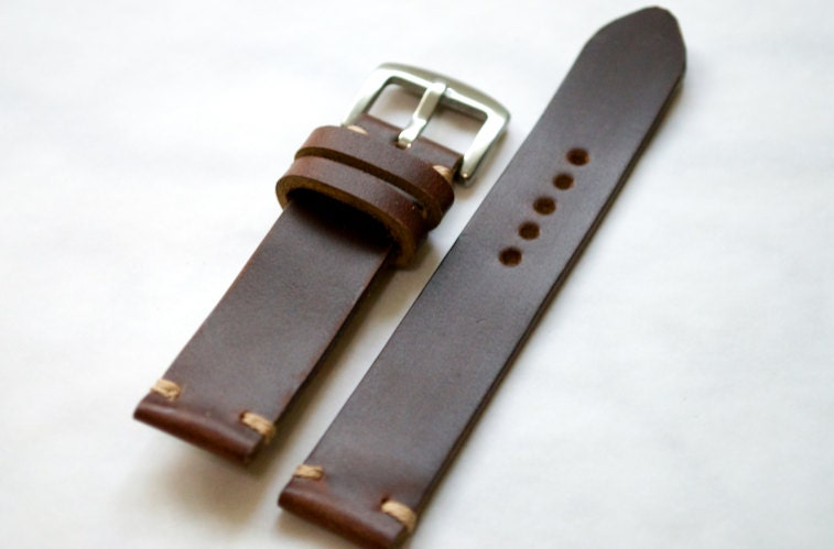Brown Horween chromexcel leather handmade watch strap 16mm
